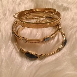 NWT INC bangle set in gold with blue accent